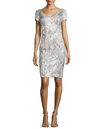 Floral-Jacquard V-Neck Sheath Dress, Silver/Taupe