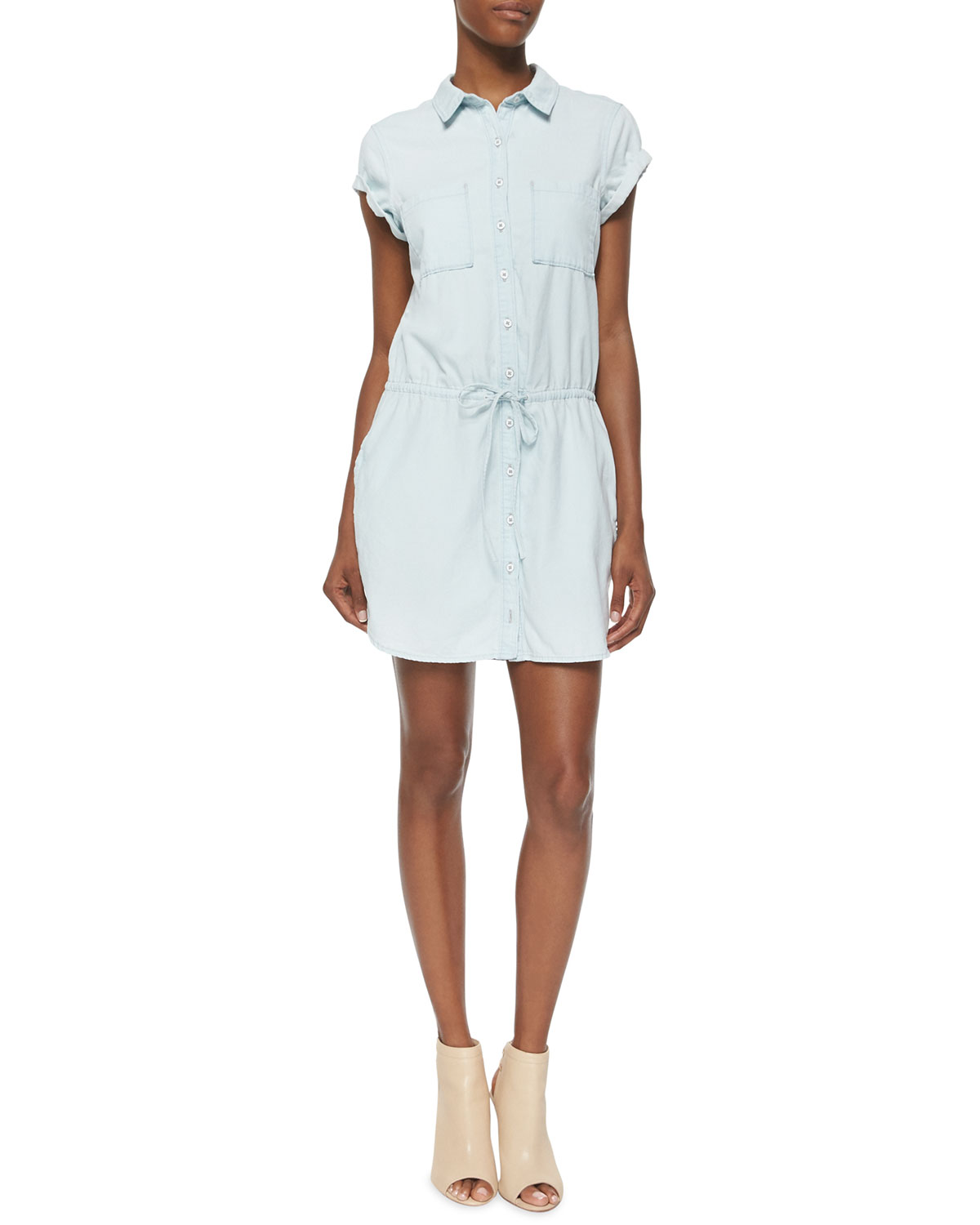Mila Cap-Sleeve Denim Shirtdress, Icy Blue
