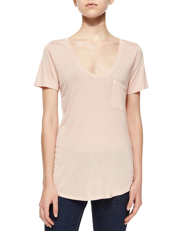 Lynnea Short-Sleeve Jersey Tee, True Blush