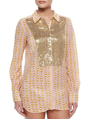 Lamu Printed Sequined Silk Blouse