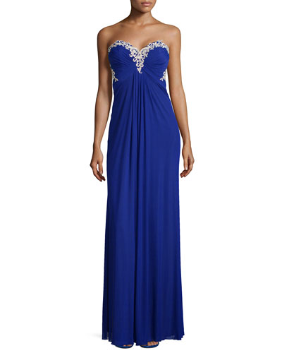 Embroidered Sweetheart Gown, Indigo