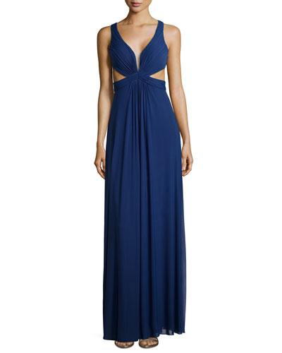 Sleeveless Knotted Chiffon Dress, Navy