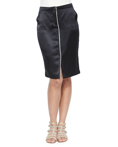 Silk Pencil Skirt with Center Piping