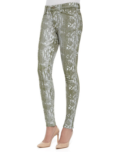 Joy Python Foil Print Leggings, Green
