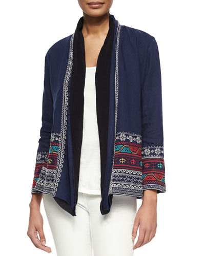 Femme Embroidered Linen Cardigan