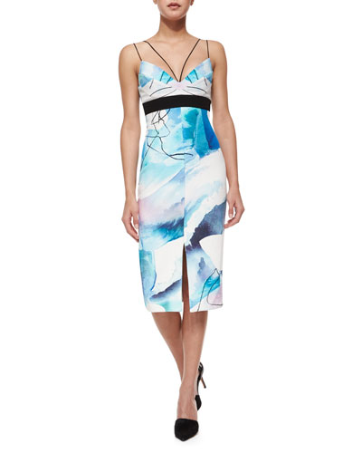 Silk Watercolor Midi Dress, Moonscape