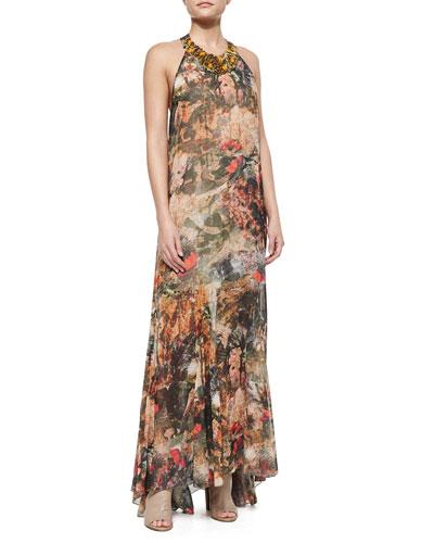 Shona Bead-Neck Printed Maxi Dress
