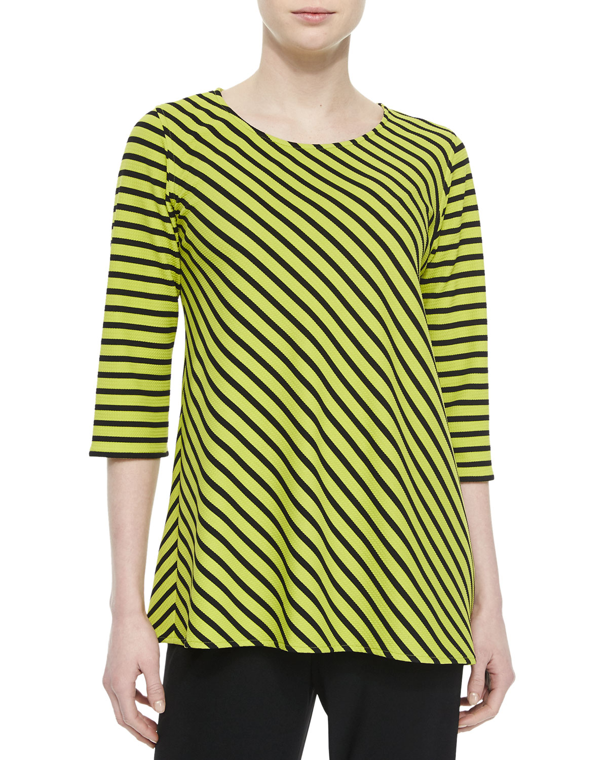 3/4-Sleeve Asymmetric Striped Tunic