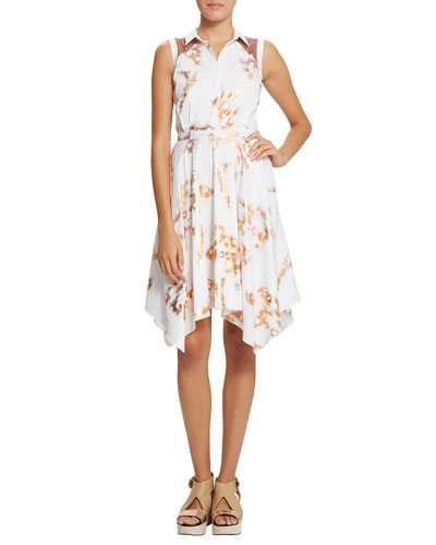 Piper Handkerchief-Hem Dress, White/Rose Gold