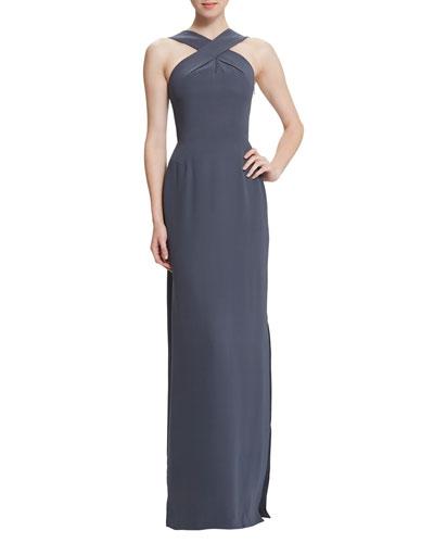 Skyla Silk Halter Gown, Anthracite