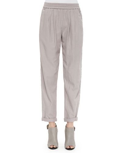 Twill Pull-On Pants, Light Gray