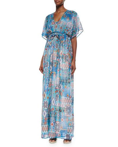 Multipattern Maxi Dress, Blue/Multicolor