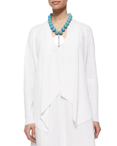 Organic-Linen Angled-Front Cardigan, Plus Size