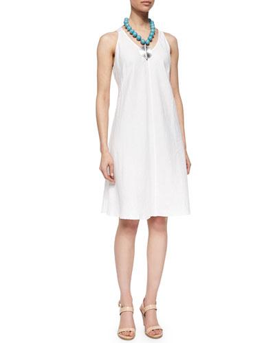 Sleeveless Linen Bias Dress, Plus Size