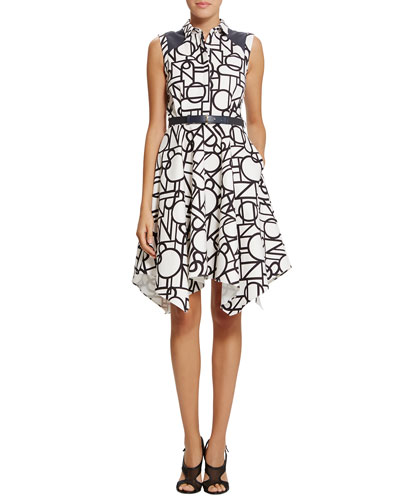Piper Graphic-Print Belted Trapeze Dress