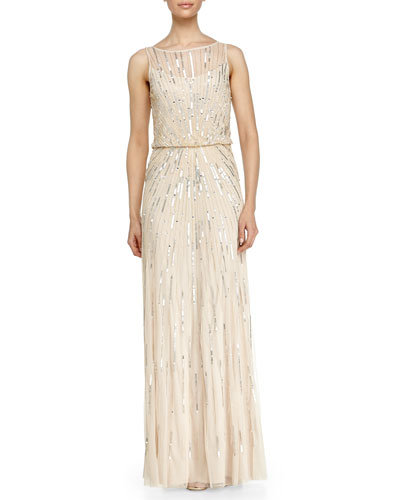 Illusion-Neck Beaded Gown, Champagne