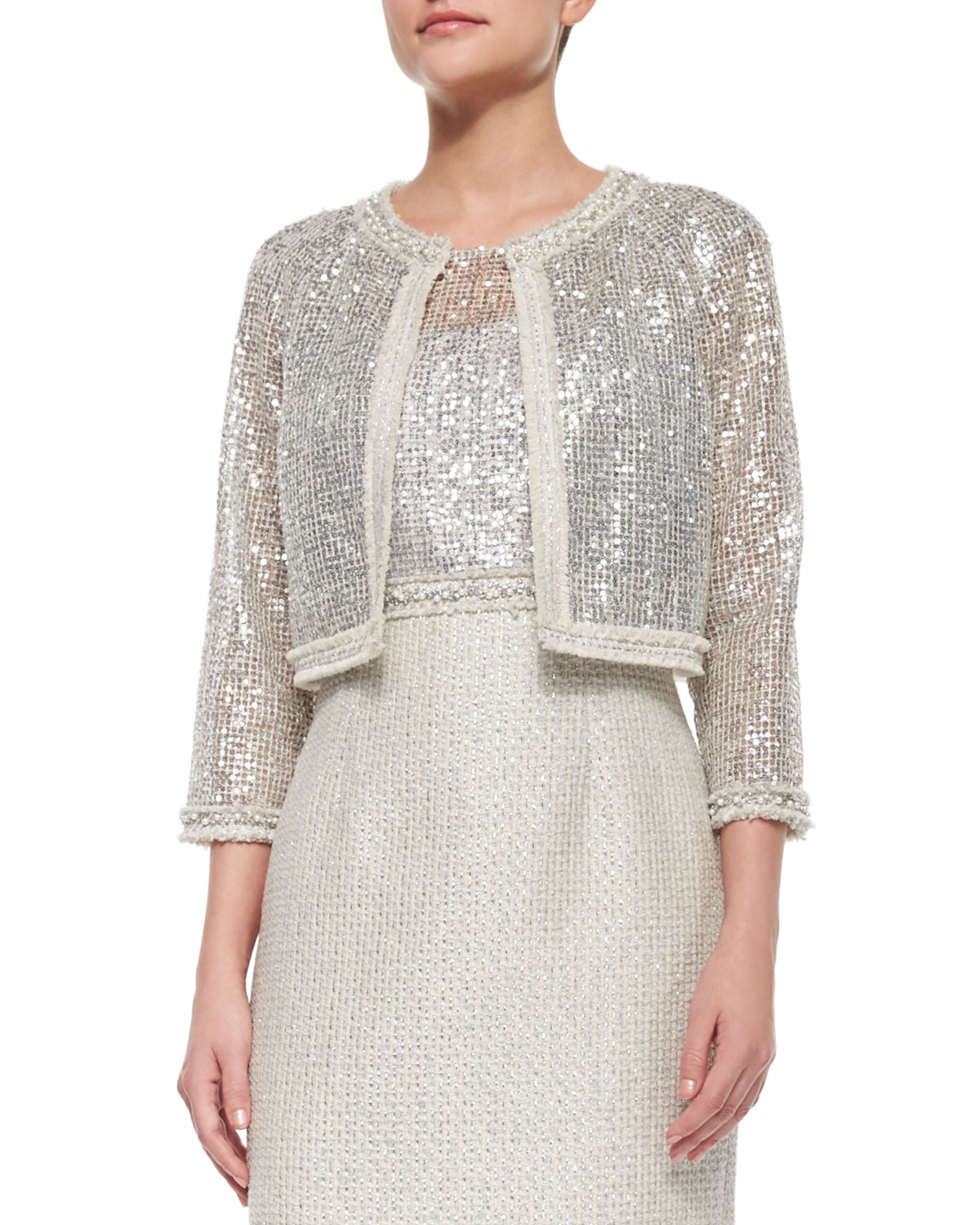 3/4-Sleeve Sequined Lace Jacket