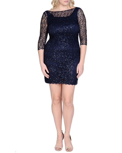 Beaded & Sequined Lace Cocktail Dress, Navy, Women's