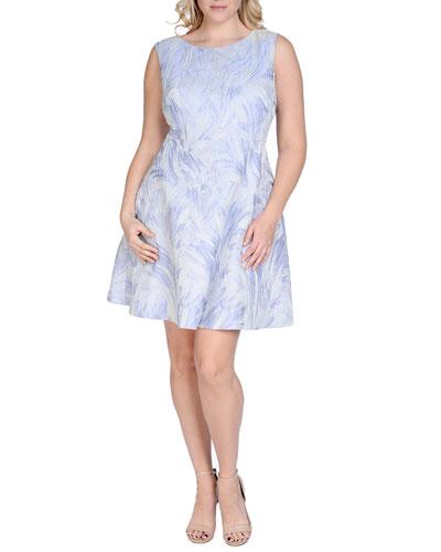 Sleeveless Fit & Flare Jacquard Dress, Women's