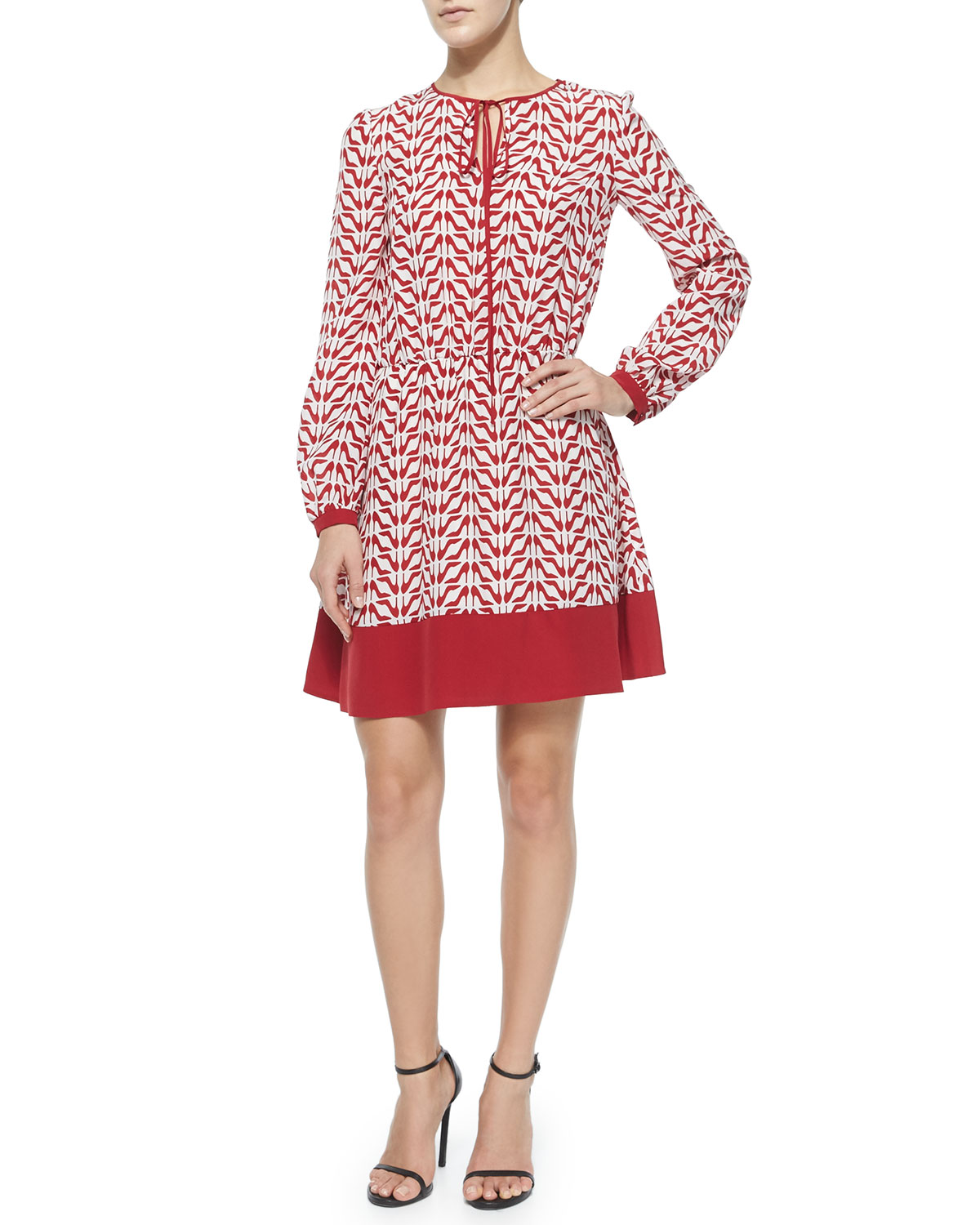 Slipper-Print Long-Sleeve Dress