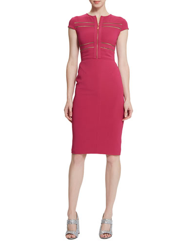 Brianna Zip-Front Sheath Dress