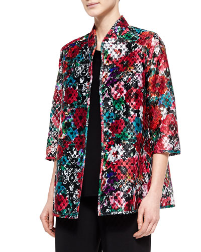 3/4-Sleeve Embroidered Organza Jacket