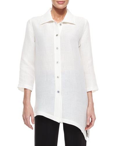 Long-Sleeve Ribwave Shirt, Petite