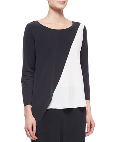 Spliced Asymmetric Silk Tunic