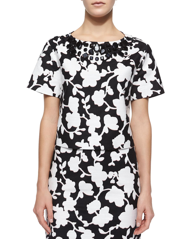 short-sleeve embellished floral crop top
