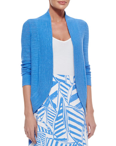 Amalie Long-Sleeve Open Cardigan, Bay Blue