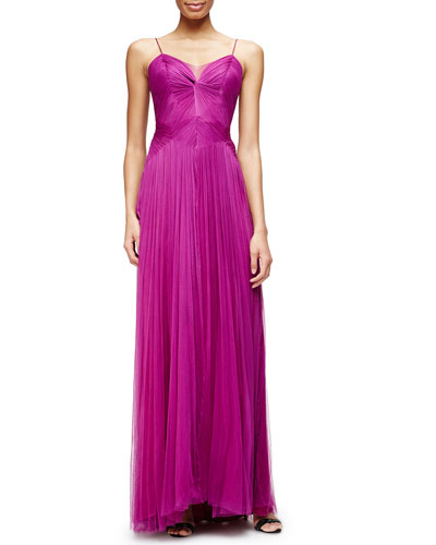 Sleeveless Twisted-Bodice Silk Tulle Gown