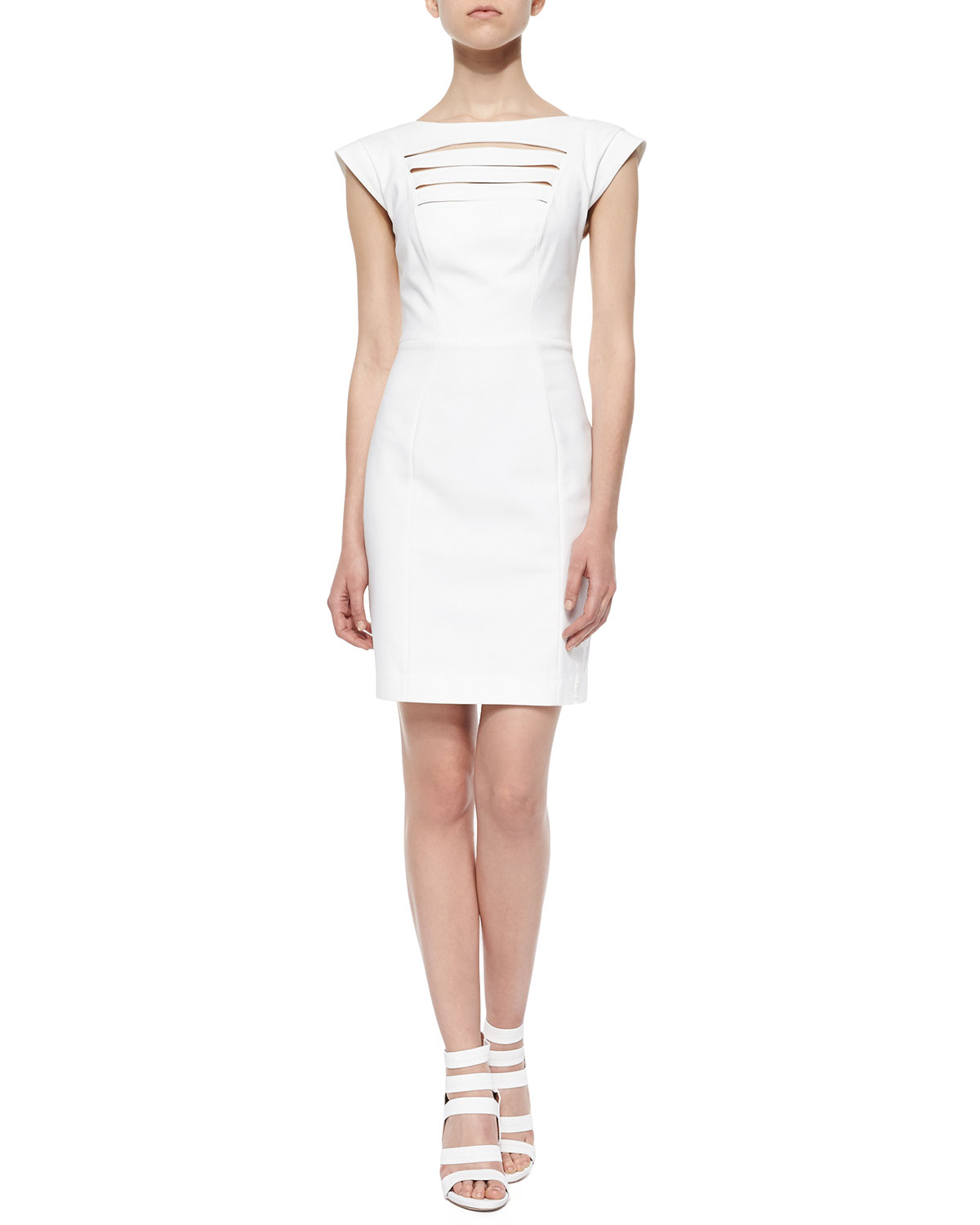 Estelle Cap-Sleeve Crepe Dress, White