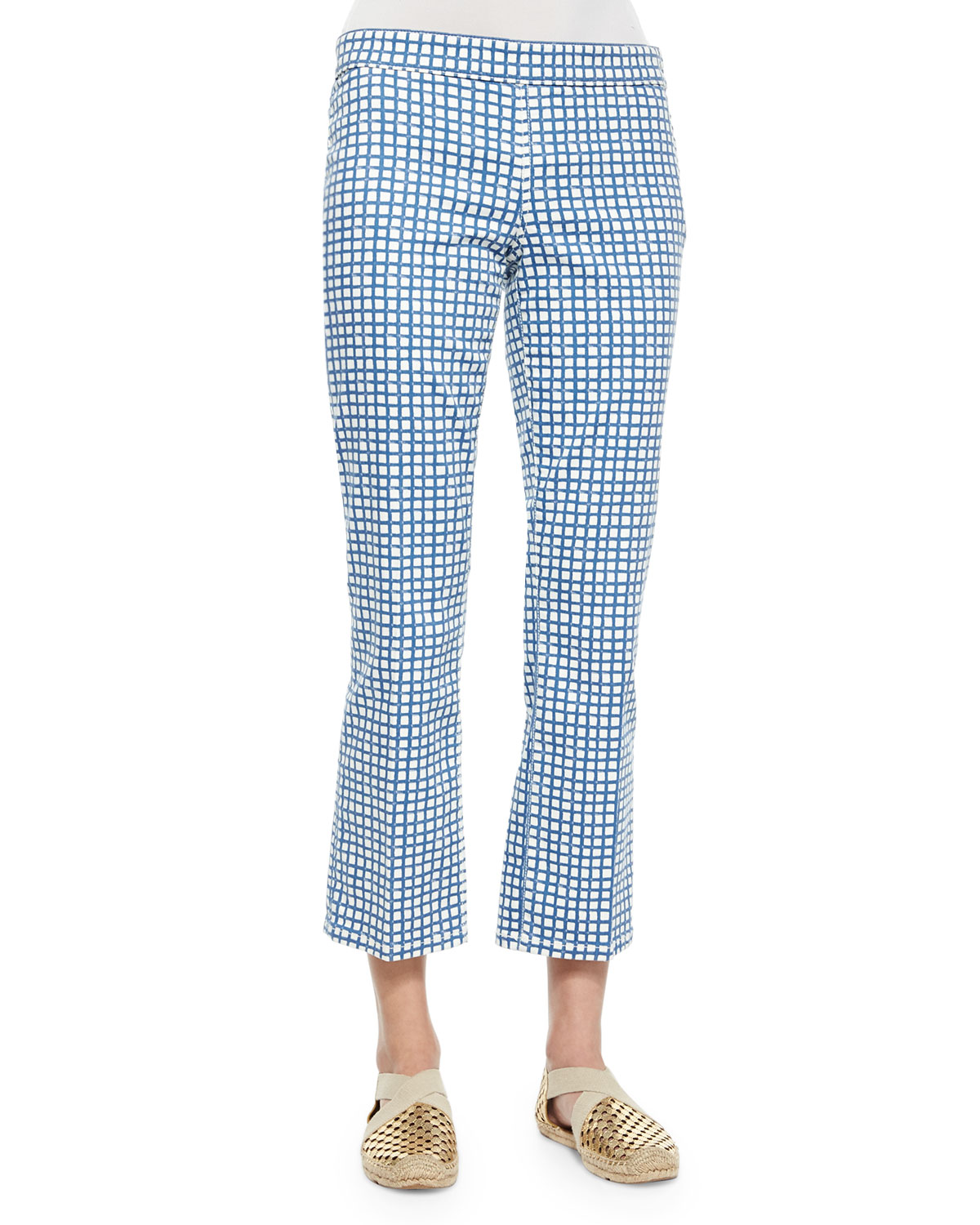 Cropped Flat-Front Plaid Pants, Blue/White