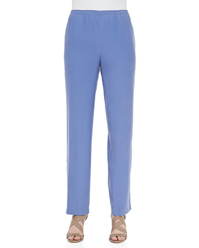 Solid Silk Pants, Blue, Plus Size