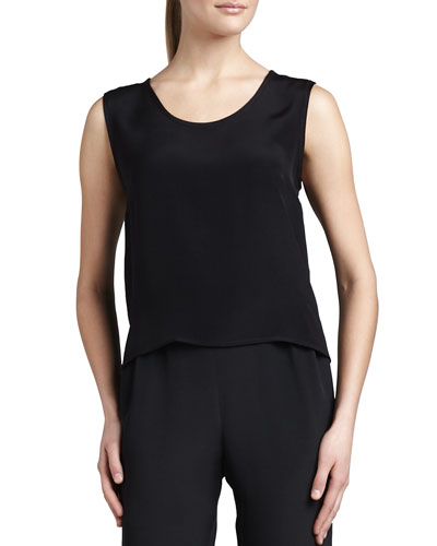 Silk Crepe Tank, Black, Plus Size