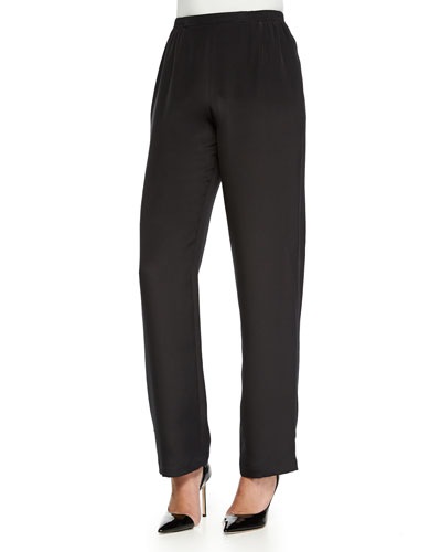 Silk Crepe Straight-Leg Pants, Petite