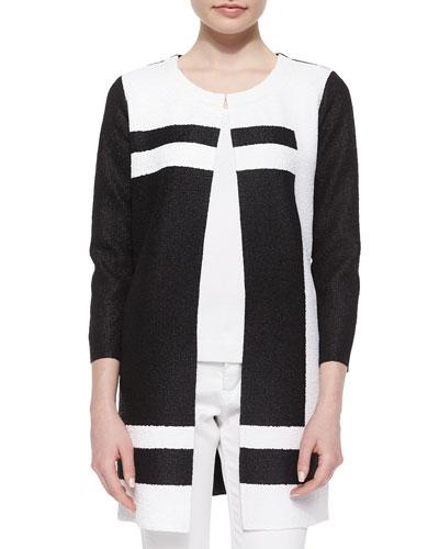 Graphic Long Crinkle Jacket, Black/White, Petite
