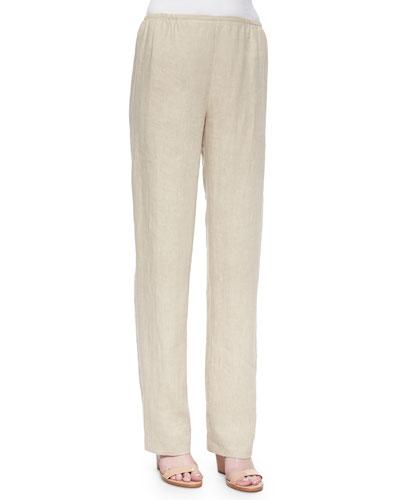 Tissue Linen Straight-Leg Pants, Plus Size