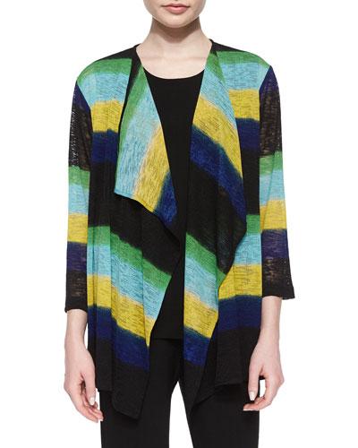 Striped Draped Knit Jacket, Petite