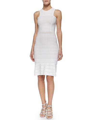 Sleeveless Striped Metallic Dress, White