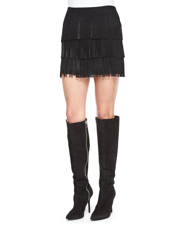 Lavana Tiered Fringe Suede Skirt, Black