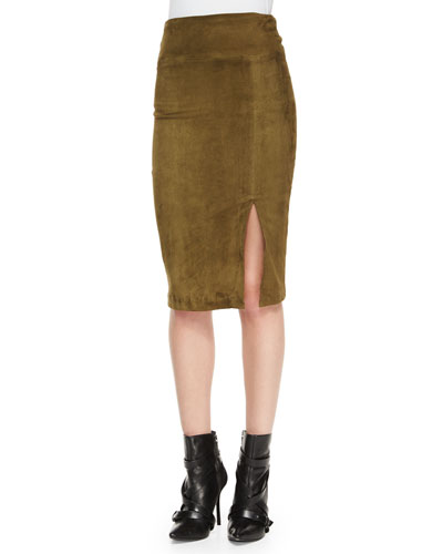 Tani Suede Pencil Skirt, Olive