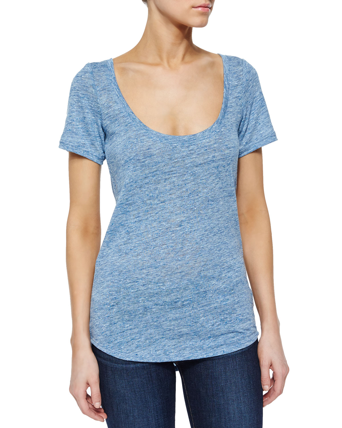 Lakyle Short-Sleeve Linen Top, Dark Sail