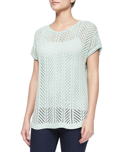 Short-Sleeve Knit Pointelle Popover Top