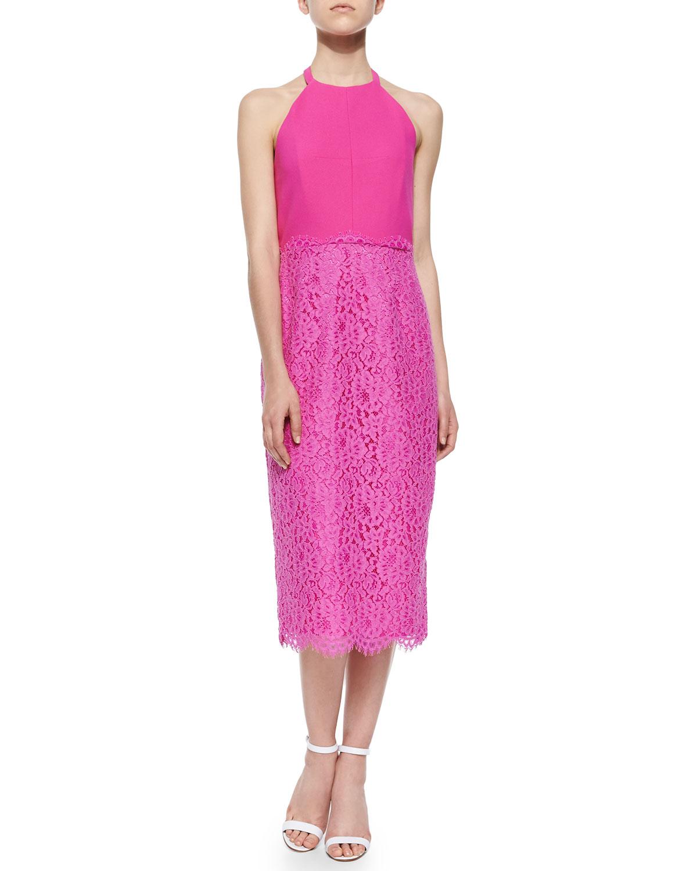Uma Lace-Skirt Halter Dress