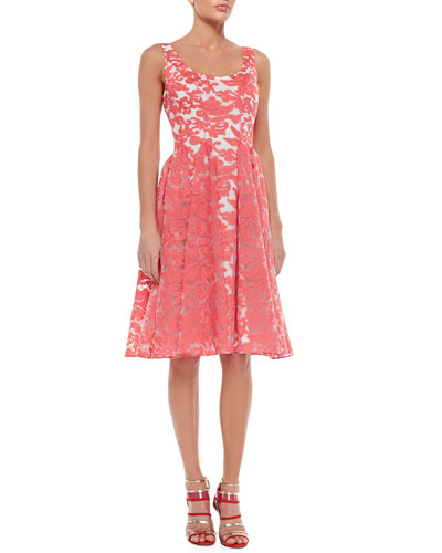 Sleeveless Embroidered Lace Party Dress