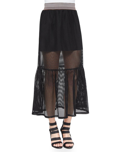 Square-Mesh Sheer/Solid Skirt