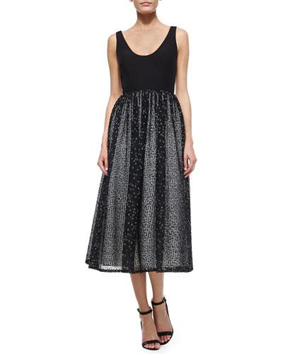 Sleeveless Scoop-Neck Textured Tea-Length Dress
