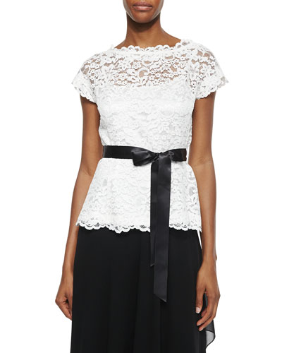 Short-Sleeve Belted Lace Top