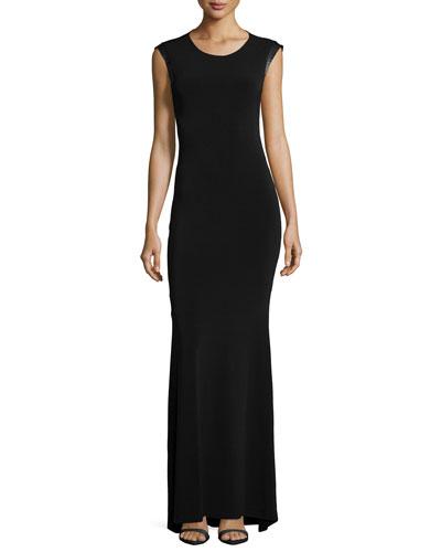 Leather-Trim Open-Back Maxi Dress, Black